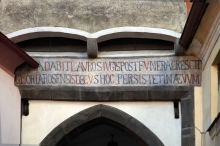 Prachatice Town - …the red highlighted letters in the Latin inscription above the entrance to the Lower Gate are also Roman numerals, photo by: Archiv Vydavatelství MCU s.r.o.