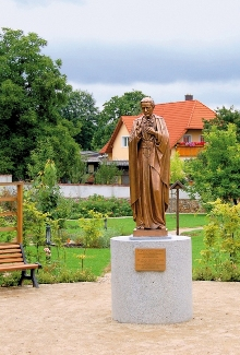 Prachatice Town - the bronze statue of St. John of Nepomuk Neumann is from the USA, photo by: Archiv Vydavatelství MCU s.r.o.